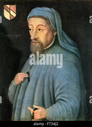Geoffrey Chaucer, c.1343 –1400, aka the Father of English literature.   English author, poet, philosopher, bureaucrat, - Stock Photo