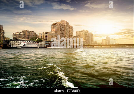 Modern buildings of Cairo on the Nile - Stock Photo