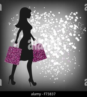 Black Friday Sale Shopping Woman with Bags on Dark - Stock Photo