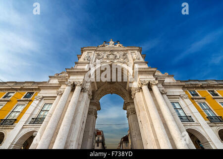 Detail of the Triumphal Arch in the Praca do Comercio in Lisbon, Portugal - Stock Photo