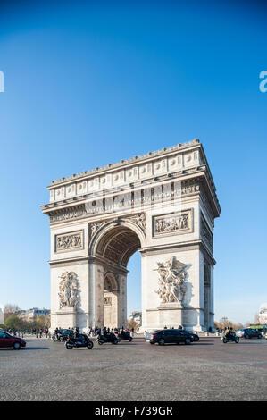 France, Paris, Arc de triomphe de l'etoile - Stock Photo