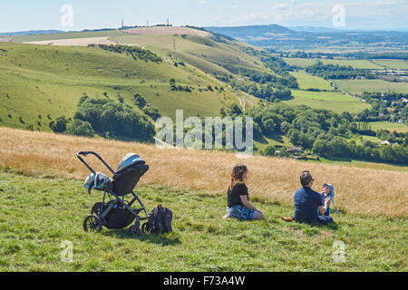 Tourists enjoying view from The Devils Dyke on the South Downs Way, the South Downs National Park East Sussex England United Kingdom UK