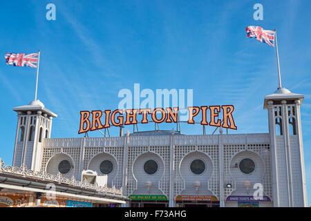 The Brighton Marine Palace and Pier, East Sussex England United Kingdom UK - Stock Photo