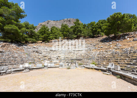 View of the Theatre of Priene,  an ancient Greek city of Ionia at the base of an escarpment of Mycale. - Stock Photo