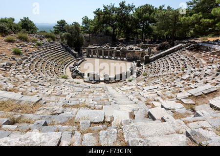 View of the Theatre of Priene from the top,  an ancient Greek city of Ionia at the base of an escarpment of Mycale. - Stock Photo