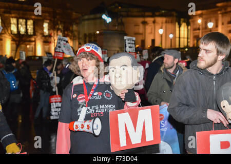London, UK. 24th November 2015. Spending Review: protest Trafalgar Square  against George Osborne austerity cuts - Stock Photo