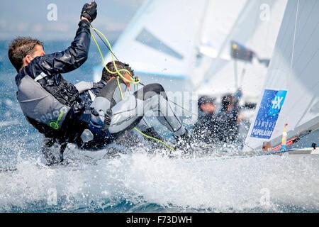 ISAF Sailing World Cup Hyères - Fédération Française de Voile. 470, Jeremie Mion Sofian Bouvet.
