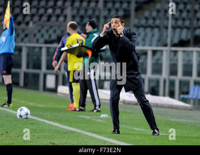 Turin, Italy. 24th Nov, 2015. Moreno Longo, head coach of Torino FC, gestures during the Uefa Youth League match - Stock Photo