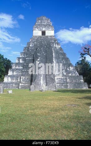 Temple I (or Temple of the Great Jaguar) at Tikal National Park, Guatemala. - Stock Photo