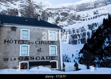 Hotel du cirque de la cascade in Gavarnie, France. - Stock Photo