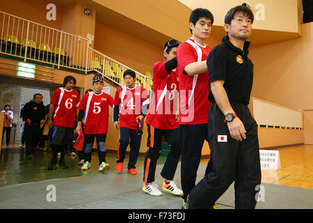 NOVEMBER 21, 2015 - Goalball : 2015 Japan Goalball Championships Preliminary round match between Kokureha Men's Team Kaminari - IBK at Ohme City general gymnasium, Tokyo, Japan. © Shingo Ito/AFLO SPORT/Alamy Live News Stock Photo