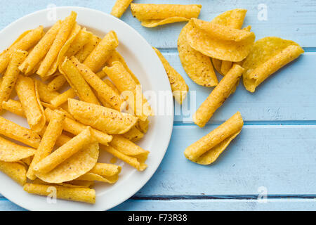 rolled nacho chips on table - Stock Photo