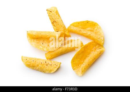 rolled nacho chips on white background - Stock Photo