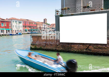Blank billboard with copy space on the wall in Venice, Italy - Stock Photo