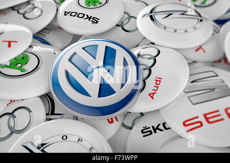 3D illustration of all car manufacturers involved in the pollution emissions scandal. - Stock Photo