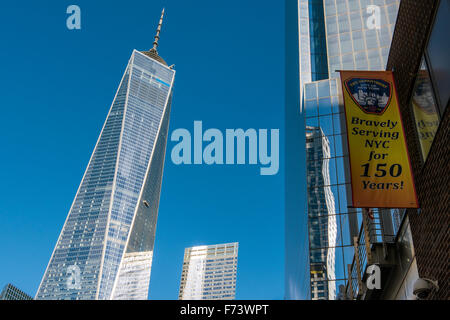 One World Trade Center or Freedom Tower, Lower Manhattan, New York, USA - Stock Photo