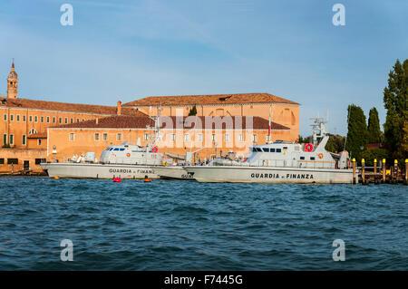 Guardia di Finanza Police patrol boats moored in Venice, Italy - Stock Photo