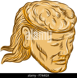 Etching engraving handmade style illustration of a man with open head showing brain set on isolated white background. - Stock Photo