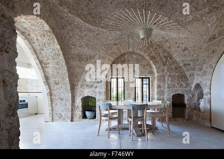 Arched window detail in dining room of   House, Jaffa, Tel Aviv, Israel - Stock Photo