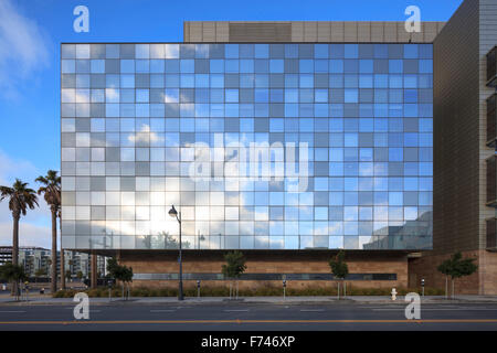 Window exteriors and facade of University of California San Francisco, Mission Bay campus, USA - Stock Photo
