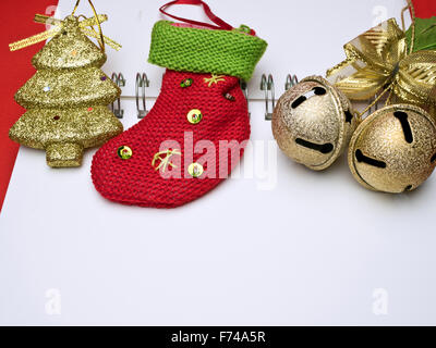 christmas card conception with diversity decorations on red background - Stock Photo