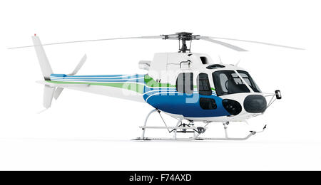 Helicopter isolated on white background. - Stock Photo