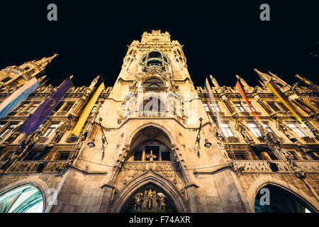 New Town Hall at night, in Munich, Germany. - Stock Photo