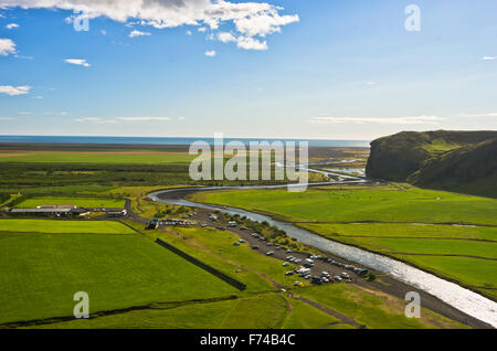 Aerial view on Skoga river from top of Skogafoss waterfall, highest waterfall in Iceland - Stock Photo