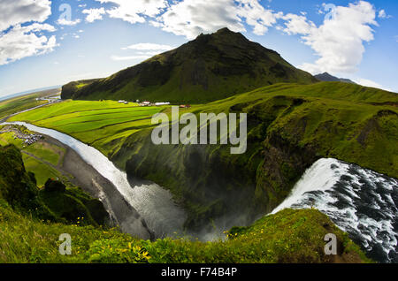 Aerial view from Skogafoss waterfall more than 200 feets high is  the highest waterfall in Iceland - Stock Photo