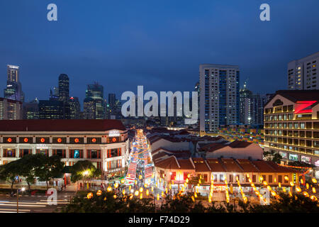 Every year in Singapore, Chinatown will host night market event for the yearly Chinese New Year festival. - Stock Photo