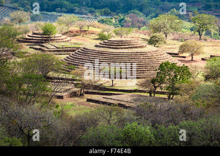 The Guachimontones pre-Columbian site with its unique circular pyramid near the town of Teuchitlan, Jalisco, Mexico. - Stock Photo