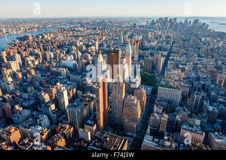 Aerial view of south Manhattan, New York City showcasing Midtown, Chelsea, Lower Manhattan, East Village and Financial - Stock Photo