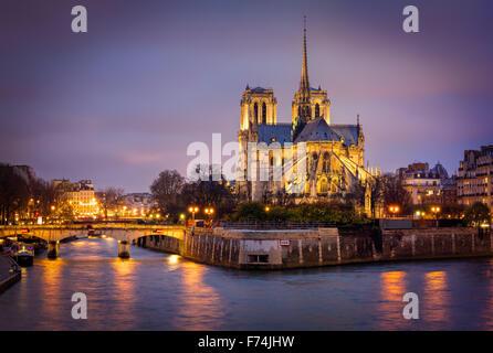 Illuminated Cathedral of Notre Dame on Ile de La Cite with the Archbishop's Bridge and Seine River, Paris, France. Stock Photo