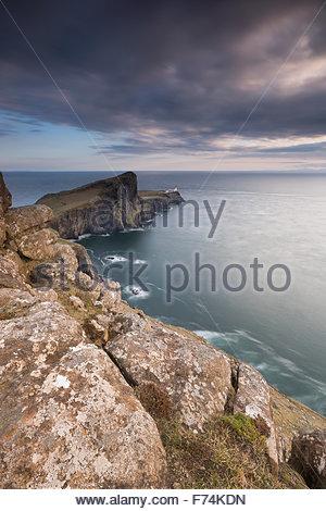 Evening light on the lighthouse at Neist Point, Isle of Skye, Inner Hebrides, Scotland - Stock Photo