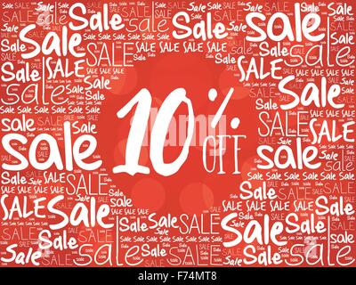10% OFF word cloud background - Stock Photo