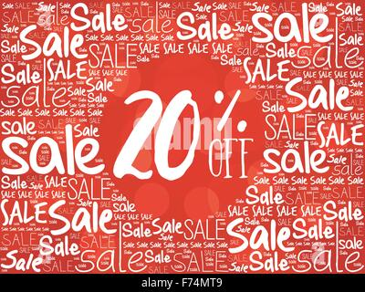 20% OFF word cloud background, business concept - Stock Photo
