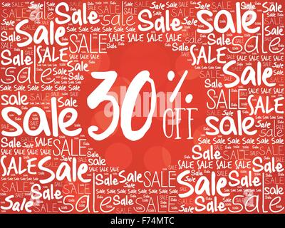 30% OFF word cloud background, business concept - Stock Photo