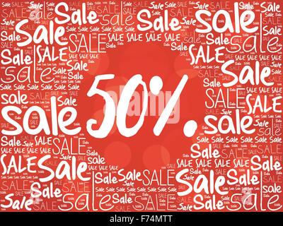 50 percent Sale word cloud background - Stock Photo