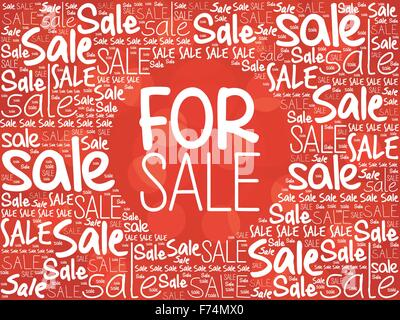 FOR SALE word cloud background, business concept - Stock Photo