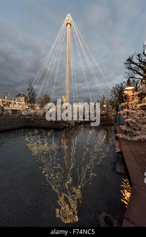 Rust, Germany. 25th Nov, 2015. The tower at Europa-Park has been decorated with holiday lights in Rust, Germany, - Stock Photo