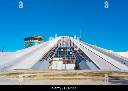 Piramida, Pyramid, Qendra Nderkombetare e Kultures Arbnori, International centre of culture, Tirana, Albania - Stock Photo