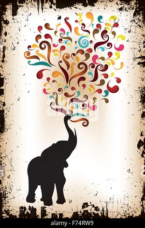 Black elephant shouts out colorful swirls on retro grunge background - jpg and eps file available - Stock Photo
