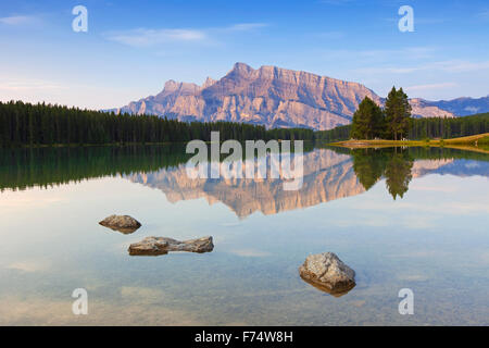 Mount Rundle and Two Jack Lake, Banff National Park, Alberta, Canadian Rockies, Canada - Stock Photo
