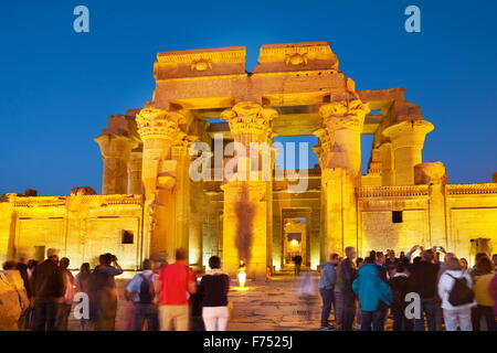 Egypt - Kom Ombo, Temple of Sobek, a Crocodile Temple by night - Stock Photo