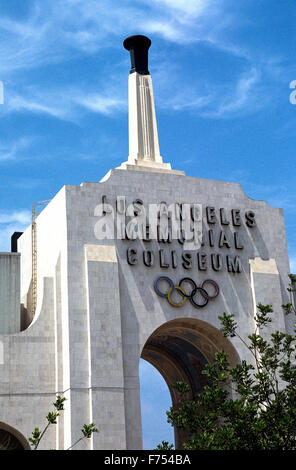 The Los Angeles Memorial Coliseum is a venerable outdoor sports stadium in Southern California, USA, that was host - Stock Photo