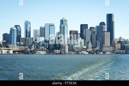 Seattle, Washington, USA. 21st Nov, 2015. The Seattle downtown and environs can be seen in this view looking east - Stock Photo