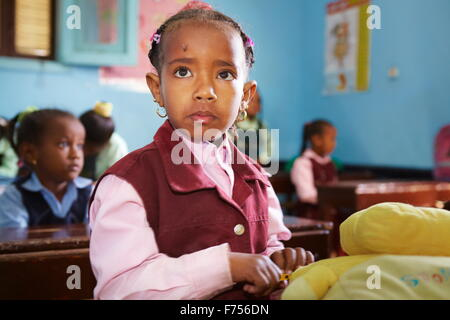 Egyptian child - Nubian children (girl) in the school, portrait, Egypt - Stock Photo