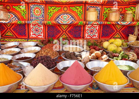 Spices shop, Nubian village near Aswan, Egypt - Stock Photo
