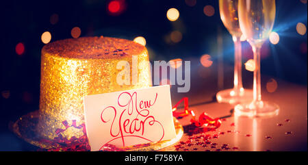 Table at new years eve celebration - Stock Photo