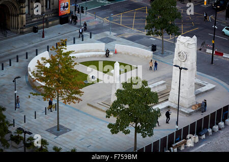 Manchester Peter Square looking down at the cenotaph    Columbus stone  through clouds dusk dawn low light evening - Stock Photo